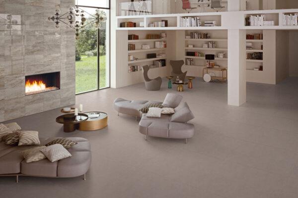 Keope_Element_Design_Pav.Taupe_Parete-camino-Lux-Silver-Grey_Living_2