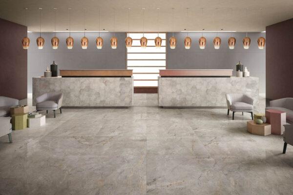 keope_elements_Marmo_Esagone-Silver-grey_Parete-Resina-Grey_Hotel_Generale_A3_Orizontle